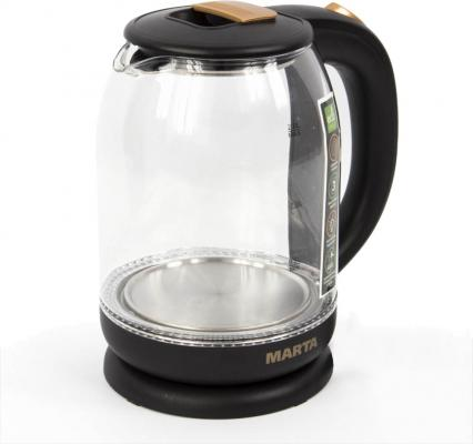 Чайник электрический Marta MT-1096 1800 Вт темное золото 2 л металл/стекло