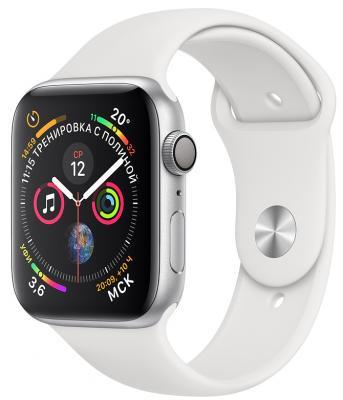 цена на Apple Watch Series 4, 40 мм, корпус из алюминия серебристого цвета, спортивный ремешок белого цвета [MU642RU/A]