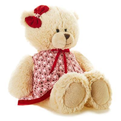 Мягкая игрушка Мишка Лина в Платье MAXITOYS TS-A6799-32G искусственный мех трикотаж кремовый 25 см недорго, оригинальная цена