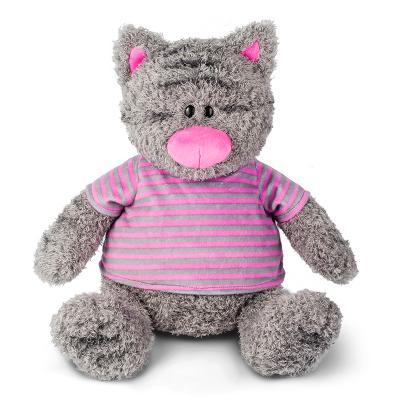 Мягкая игрушка Серый Кот в Полосатой Майке MAXITOYS MT-111701 искусственный мех трикотаж серый 25 см цена