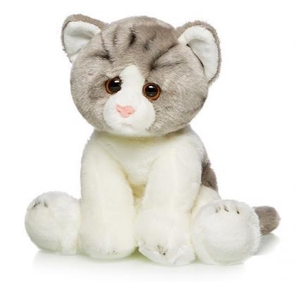 Купить Мягкая игрушка Котик Сидячий MAXILIFE MT-TSC091426-30A искусственный мех трикотаж белый серый 30 см, белый, серый, искусственный мех, трикотаж, Животные