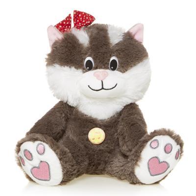 Мягкая игрушка Кошечка Мила MAXIPLAY MP-HH-R9048E искусственный мех трикотаж белый серый 20 см