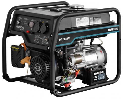 HYUNDAI [HHY 3020FE] Генератор бензиновый { Запуск ручной/электро, 3,1 кВт/ nom 2,8кВт, 230В/50Гц, IC210, 4-х такт, 7,0 л.с., 208 см3, Вес 49 кг } генератор бензиновый hyundai hhy 9000fe ats колеса