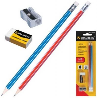 Набор BRAUBERG: 2 карандаша, стирательная резинка, точилка, в блистере, 180338 ластик стирательная резинка академия групп star wars фигурные 2 шт в блистере