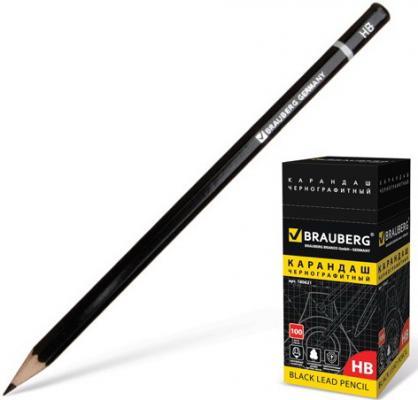 Карандаш чернографитный BRAUBERG, 1 шт., Touch line, 2В, корпус черный, без резинки, заточенный, 180623 карандаш 2в