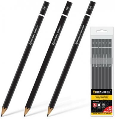 Карандаши чернографитные BRAUBERG Touch line, НАБОР 12 шт., твердость 5H-5B, черные, без резинки, заточенные, ПВХ-упаковка, 180652