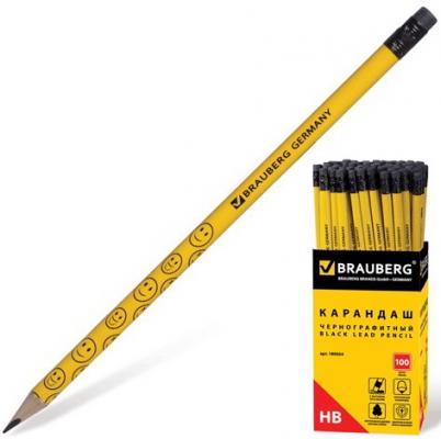 фломастер brauberg смайлики 1 мм 6 шт Карандаш чернографитный BRAUBERG, 1 шт., Смайлики, НВ, желтый, улыбки, с резинкой, заточенный, 180654