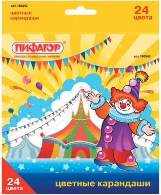 Набор цветных карандашей ПИФАГОР Сказочный мир 180242 24 шт 176 мм пифагор набор карандашей восковых 24 цвета