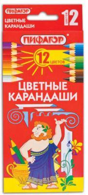 Набор цветных карандашей ПИФАГОР 180296 12 шт 176 мм
