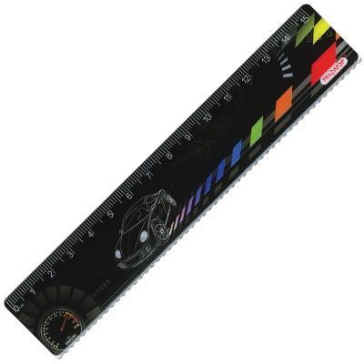 Фото - Линейка пластиковая 15 см, ПИФАГОР Авто, цветная печать, с волнистым краем, европодвес, 210634 авто