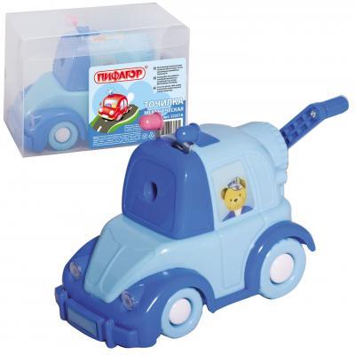 Точилка механическая ПИФАГОР Полицейская машина, металлический механизм, синяя/голубая машина, 222518