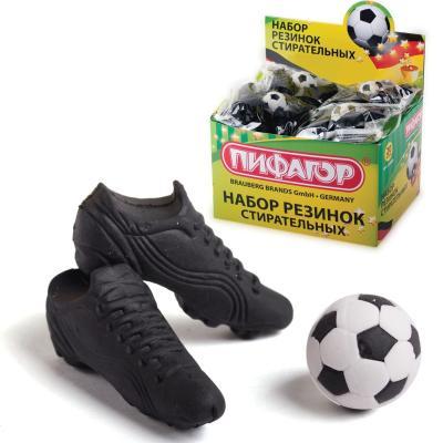 Резинки стирательные ПИФАГОР Футбол, набор 3 шт., в упаковке с подвесом, 223608 кисти набор 15 штук пифагор 200504