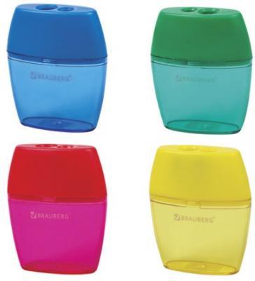 Точилка BRAUBERG Diamond Dual с контейнером, пластиковая, овальная, 2 отверстия, цвет ассорти, 226941 точилка index iws410 пластик ассорти двойная с контейнером с резиновой вставкой 2 цв в ассортименте