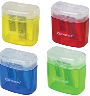 Точилка BRAUBERG Chief с контейнером, пластиковая, прямоугольная, 2 отверстия, с крышкой, ассорти, 226942 точилка index iws410 пластик ассорти двойная с контейнером с резиновой вставкой 2 цв в ассортименте
