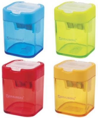 Точилка BRAUBERG Peak с контейнером, пластиковая, прямоугольная, 2 отверстия, цвет ассорти, 226945 точилка index iws410 пластик ассорти двойная с контейнером с резиновой вставкой 2 цв в ассортименте