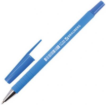 "Ручка шариковая BRAUBERG ""Capital blue"", корпус soft-touch голубой, узел 0,7 мм, линия 0,35 синяя, 142493"