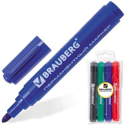 Набор маркеров перманентных BRAUBERG 150299 3 мм 4 шт синий зеленый черный красный