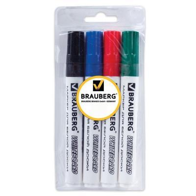 Набор маркеров для доски BRAUBERG 150417 5 мм 4 шт синий зеленый черный красный