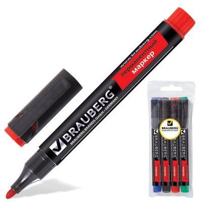 Набор маркеров перманентных BRAUBERG 150479 3 мм 4 шт синий зеленый черный красный