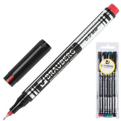 Набор маркеров перманентных BRAUBERG 150511 0.5 мм 4 шт черный синий зеленый красный
