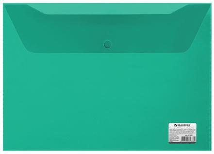 Папка-конверт с кнопкой BRAUBERG, А4, 150 мкм, до 100 листов, прозрачная, зеленая, 221635