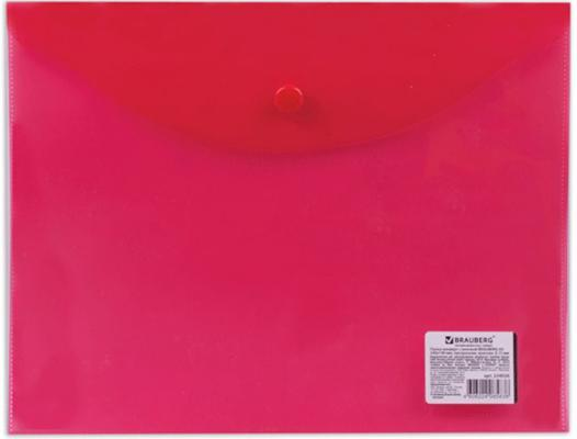 Папка-конверт с кнопкой BRAUBERG, А5, 240х190 мм, 150 мкм, прозрачная, красная, 224026 папка конверт с кнопкой brauberg а4 прозрачная красная до 100 листов