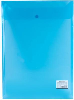 Папка-конверт с кнопкой BRAUBERG, А4, вертикальная, 150 мкм, до 100 листов, прозрачная, синяя, 224977