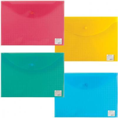 Папка-конверт с кнопкой BRAUBERG My CLEAR BAG, А4, 150 мкм, до 100 листов, прозрачная, ассорти, 225174