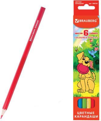"Карандаши цветные BRAUBERG ""My lovely dogs"", 6 цветов, заточенные, картонная упаковка, 180518"