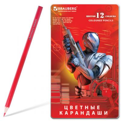 Набор цветных карандашей BRAUBERG Star Patrol 12 шт 176 мм