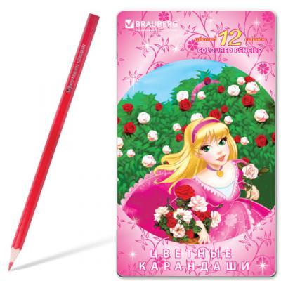 Набор цветных карандашей BRAUBERG Rose Angel 12 шт 176 мм
