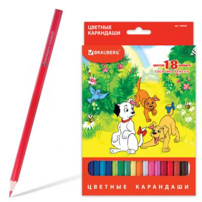Набор цветных карандашей BRAUBERG My lovely dogs 18 шт 176 мм