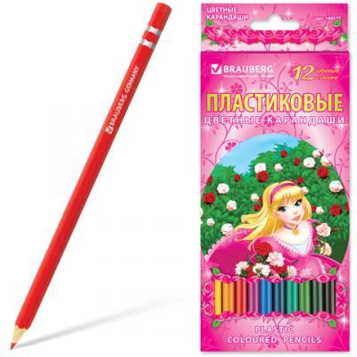"""Набор цветных карандашей BRAUBERG """"Rose Angel"""", 12 шт 176 мм"""
