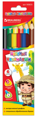 Набор цветных карандашей BRAUBERG Карандаши цветные 6 шт 175 мм утолщенные цена