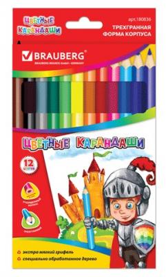 Набор цветных карандашей BRAUBERG Карандаши цветные 12 шт 176 мм утолщенные ручки и карандаши cars набор цветных карандашей disney cars 12 шт