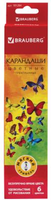Набор цветных карандашей BRAUBERG Бабочки 6 шт 176 мм набор полусфер из пенопласта d 65 мм 45 мм 15мм 6 шт в блистере