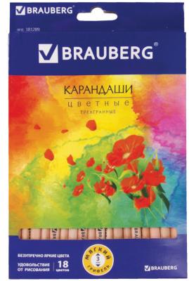 Набор цветных карандашей BRAUBERG Цветы 18 шт 176 мм