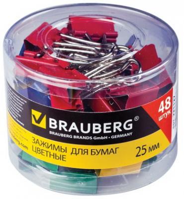 Зажимы для бумаг BRAUBERG, комплект 48 шт., 25 мм, на 100 л., цветные, в пластиковом цилиндре, 221128