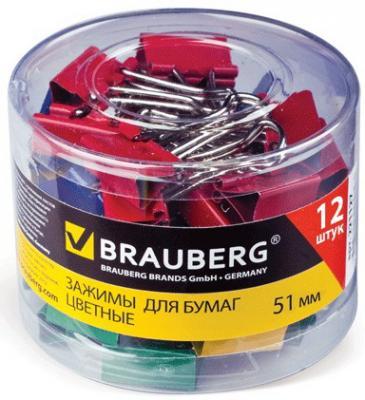 Зажимы для бумаг BRAUBERG, комплект 12 шт., 51 мм, на 230 л., цветные, в пластиковом цилиндре, 221131