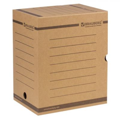 цена Короб архивный с клапаном, микрогофрокартон, 200 мм, до 1800 листов, плотный, бурый, BRAUBERG, 126510 онлайн в 2017 году