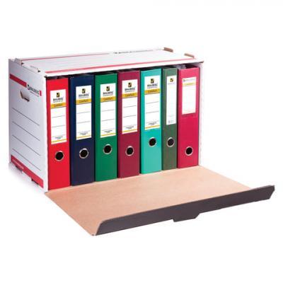 Короб архивный BRAUBERG, 33,8х52,5х30,6 см, для регистраторов/накопителей, фронтальная загрузка, белый, 126522