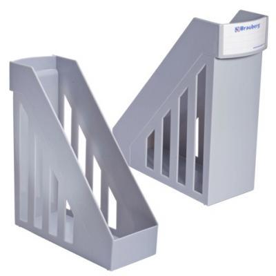 Лоток вертикальный для бумаг BRAUBERG-MAXI, ширина 100 мм, серый, 231051 лоток куб для бумаг axent 2112 03 a металлический цвет серебристый 100 х 100 x 100 мм