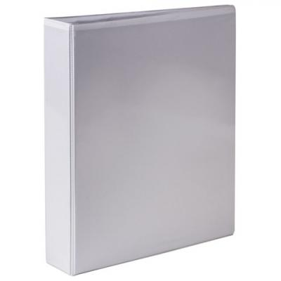 Папка на 2 кольцах BRAUBERG, картон/ПВХ, с передним прозрачным карманом, 50 мм, белая, до 300 листов, 223528