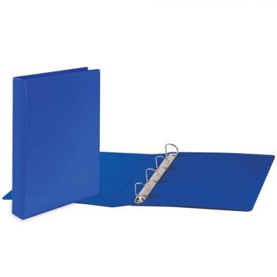 Папка на 4 кольцах BRAUBERG, картон/ПВХ, с передним прозрачным карманом, 50 мм, синяя, до 300 листов, 223530