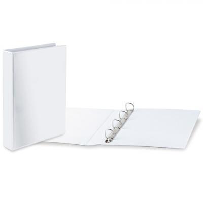 Папка на 4 кольцах BRAUBERG, картон/ПВХ, с передним прозрачным карманом, 65 мм, белая, до 400 листов, 223535