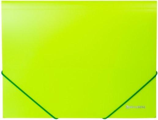 Папка на резинках BRAUBERG Neon, неоновая, зеленая, до 300 листов, 0,5 мм, 227460 brauberg папка на резинках business цвет синий 224144