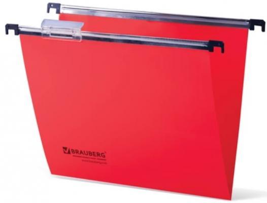 Подвесные папки пластиковые BRAUBERG(Италия), комплект 5 шт., 315х245 мм, до 80 л. А4, красные, табуляторы, 231800