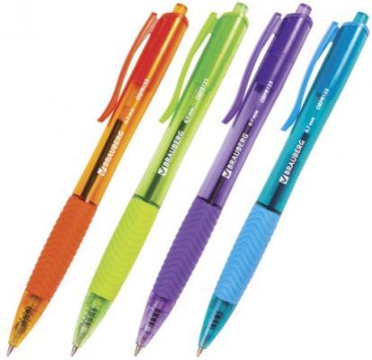 """Ручка шариковая масляная автоматическая BRAUBERG """"Fruity RD"""", ассорти, узел 0,7 мм, линия 0,35 синяя, 142700"""