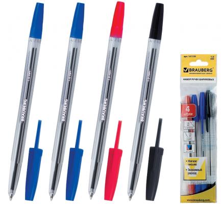 Набор шариковых ручек BRAUBERG Line 4 шт синий красный черный 0.5 мм набор шариковых ручек avantre airy цвет синий черный 4 шт