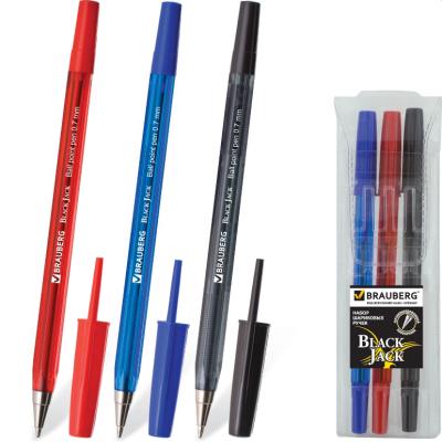 Набор шариковых ручек BRAUBERG Black Jack 3 шт синий красный черный 0.35 мм набор шариковых ручек avantre airy цвет синий черный 4 шт